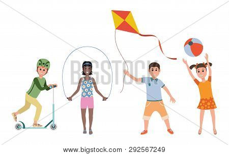 Various Games And Toys For Preschool Kids. Game Preschool, Childhood Girl And Boy Leisure, Vector Il