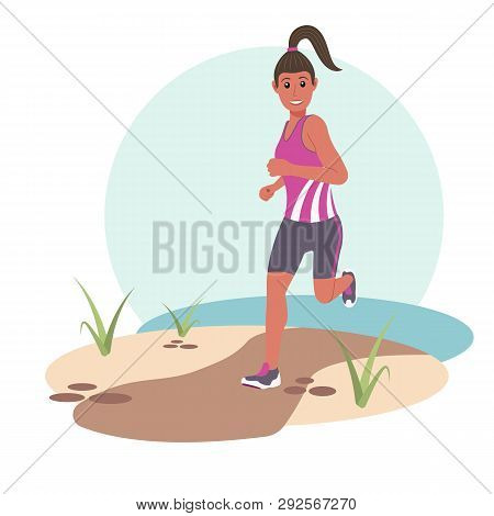 Young Happy Woman Jogging In The Park. Flat Vector Illustration.