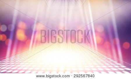 Abstract Illuminated Light Stage With Colorful Bokeh Background
