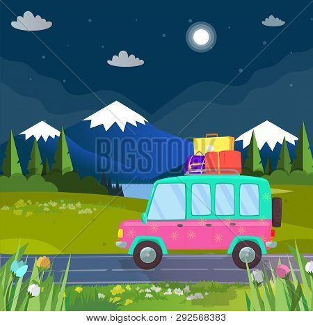 Family Travel By Hatchback Car At Highland. Holiday Trip, Journey At Nature With Luggage. Traveling