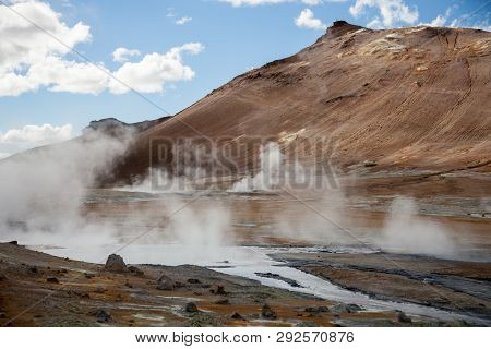 Iceland Geothermal Zone Namafjall - Area In Field Of Hverir. Landscape Which Pools Of Boiling Mud An