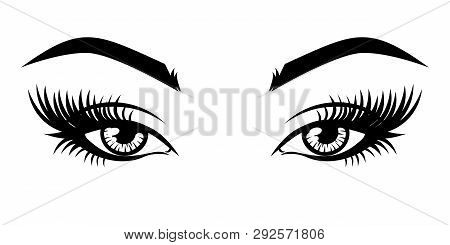 Eyelash Extension Logo. Vector Illustration Of Eyes With Long Eyelashes And Make-up.