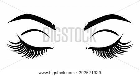 Eyelash Extension Logo. Vector Illustration With Closed Eyes