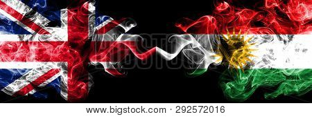United Kingdom Vs Kurdistan, Kurdish Smoky Mystic Flags Placed Side By Side. Thick Colored Silky Smo