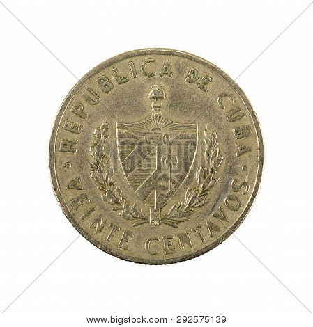 20 Cuban Centavo Coin (1962) Obverse Isolated On White Background