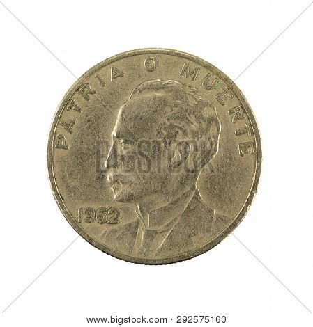 20 Cuban Centavo Coin (1962) Reverse Isolated On White Background