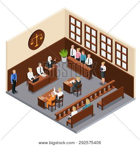 Law Justice Court Trial Isometric Composition With Courtroom Interior Defendant Lawyer Judge Officer