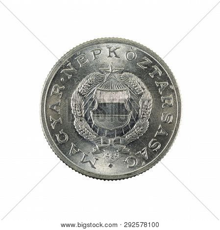 1 Hungarian Forint Coin (1989) Reverse Isolated On White Background
