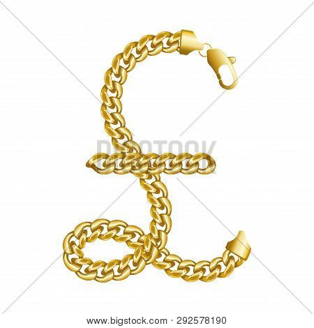 Gold Pound Sterling Money Sign Made Of Shiny Thick Golden Chain. Realistic Vector Detailed Illustrat