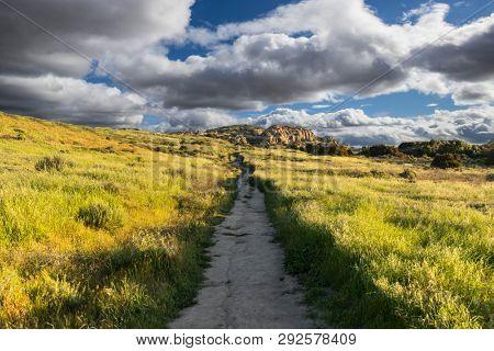 San Fernando Valley spring mountain meadow trail at Santa Susana Pass State Historic Park in Los Angeles, California.