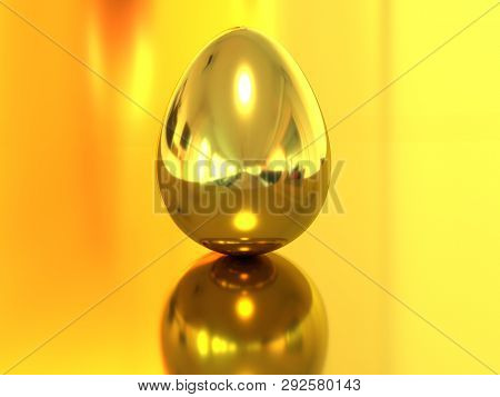 Egg Of Gold. 3d Rendering. Golden Egg Central Composition. 3d Rendering Eggs. Golden Item. Golden Ba
