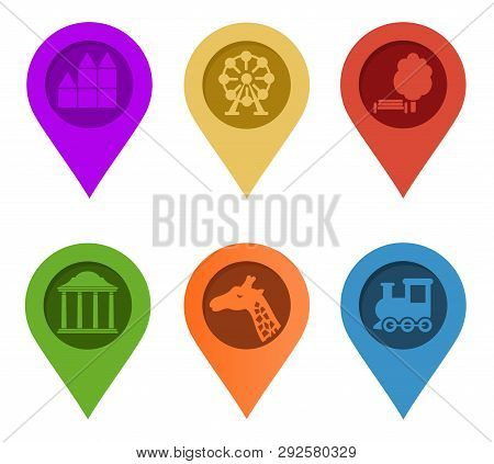 Map Pin. Set Of Bright Map Pointers On White Background. Vector Illustration. Gps Symbol Marker Sign
