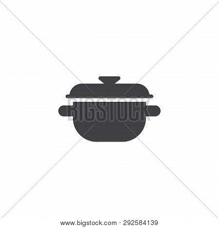Cooking Pot Cover Vector Icon. Filled Flat Sign For Mobile Concept And Web Design. Saucepan Glyph Ic