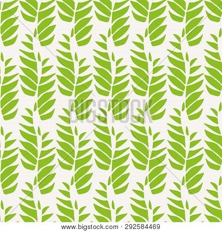 Green Abstract Leaves In Relaxed Vertical Geometric Design. Seamless Vector Pattern On Light Backgro
