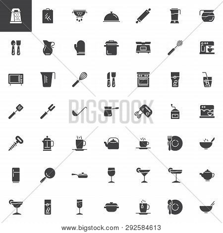 Kitchen Utensils Vector Icons Set, Modern Solid Symbol Collection, Filled Style Pictogram Pack. Sign
