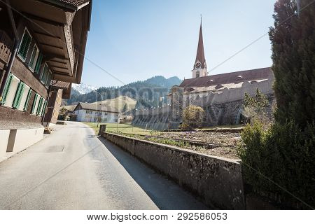 Catholic Church In Marbach, Emmental Entlebuch Switzerland In Spring