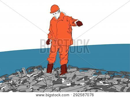 Fish industry worker on a pile of fish. Workman in orange uniform, helmet, rubber boots and gloves. Colorful vector illustration. poster