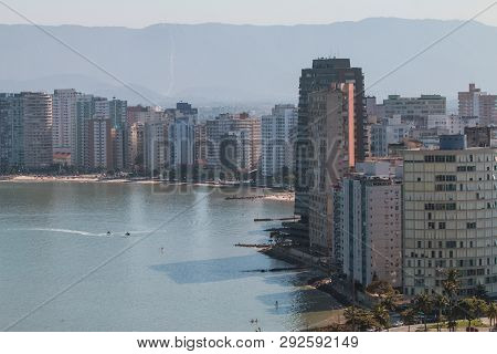Sao Vicente, Brazil - July 2018:  Elevated View Of High-rise Buildings Lining Beach Along Shoreline