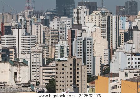 Sao Paulo, Brazil - July 2018:  Elevated View From Rooftop Of Downtown Sao Paulo Shows Cityscape Of