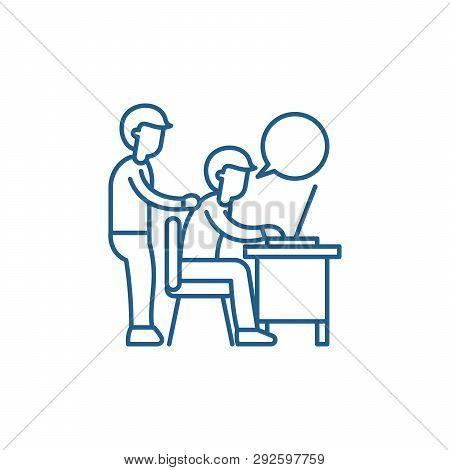 Delegation Of Work Line Icon Concept. Delegation Of Work Flat  Vector Symbol, Sign, Outline Illustra