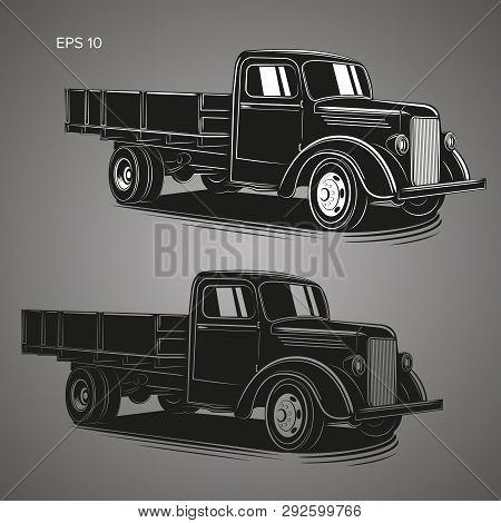 Old Retro Truck Vector Illustration. Vintage Transport Vehicle