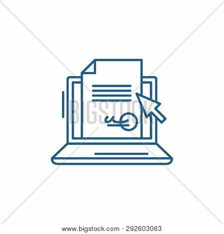 Electronic Signature Of The Contract Line Icon Concept. Electronic Signature Of The Contract Flat  V