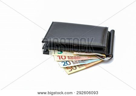 Photo On A White Background - A Purse With Euro Money. White Background Euro Money. Banking Business