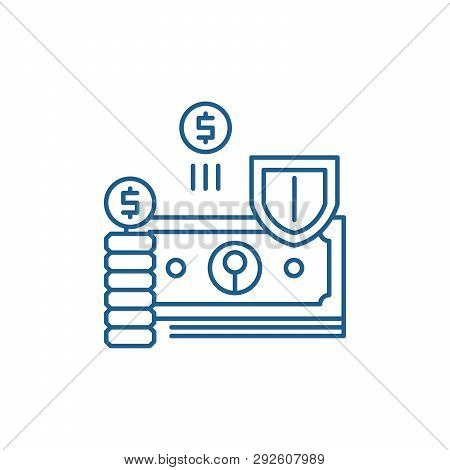 Finance Protection Line Icon Concept. Finance Protection Flat  Vector Symbol, Sign, Outline Illustra