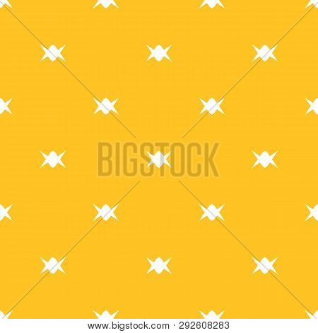 Candy Pattern. Simple Yellow Minimalist Vector Seamless Texture With Small Candies. Abstract Colorfu