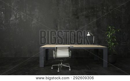 Desk with lamp, white office chair and potted green plant in dark room with matte black walls and floor. Minimalist interior design with copy space. 3d Rendering