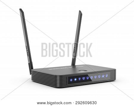 Wireless Internet Router Wi-fi With Brightening Pictograms Isolated On White Background 3D