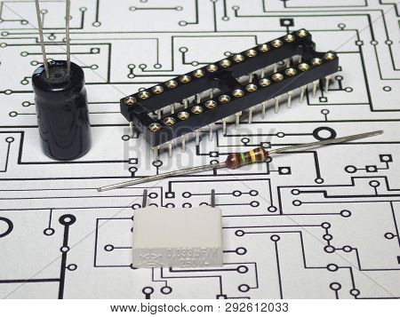 View Of The Electronics Components And Pcb