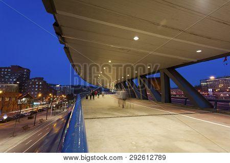 View Of The Euskalduna Bridge, Bilbao, Bizkaia, Spain