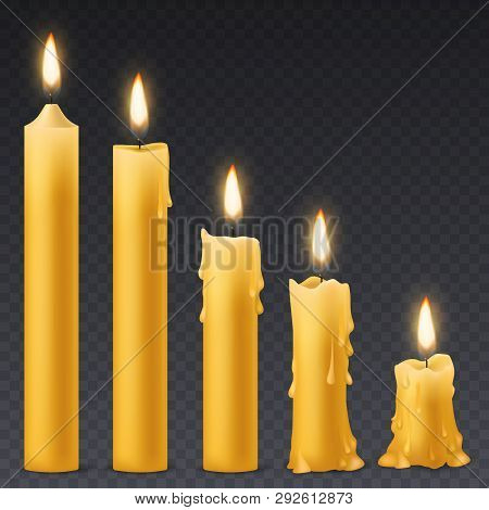 Burning Candles. Candlelight Romantic Birthday Holiday Wax 3d Burn Out Candle With Flicker Fire Cele