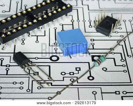 Detail Of Electronics Components And Pcb In White Background