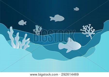 Paper Underwater Seascape. Seafloor, Undersea With Seaweed. Dark Saltwater With Corals Silhouettes.