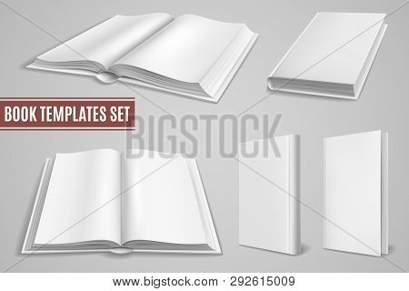White Book Templates. Books Blank Cover Open, Closed Brochure Covers Empty Textbook Magazine Hardcov