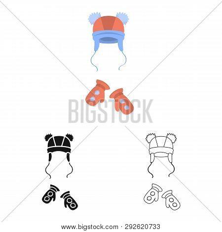 Vector Illustration Of Hat  And Pompom Symbol. Set Of Hat  And Kids   Stock Vector Illustration.