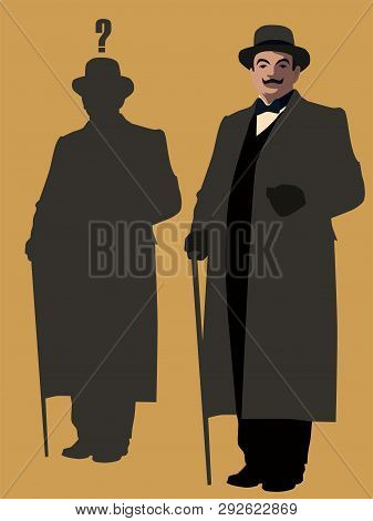 Humorous Picture Of Famous Detective. Vector Illustration