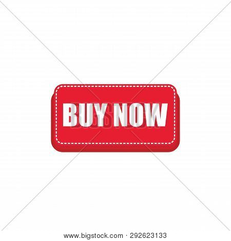 Red Buy Now Button With White Text Inside For Web Shop Design. Red Buy Now Button Vector Eps10.