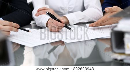 Bookkeepers Team Or Financial Inspectors  Making Report, Calculating Or Checking Balance. Group Of P