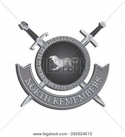 poster of Silhouette of a ferocious beast in a circle and crossed swords. NORTH REMEMBERS.