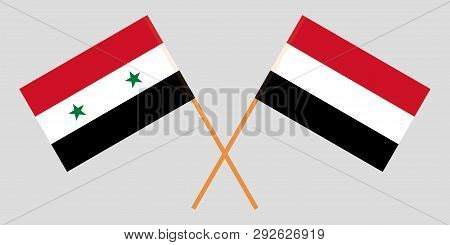 Yemen And Syria. The Yemeni And Syrian Flags. Official Colors. Correct Proportion. Vector Illustrati