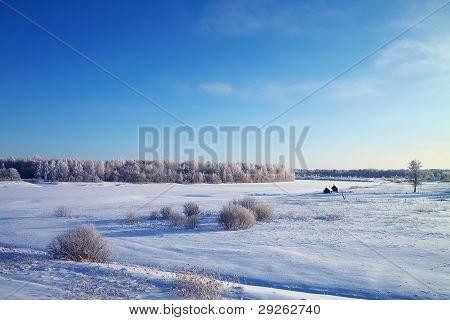 Small River Kusinka In Frosty Winter Day.