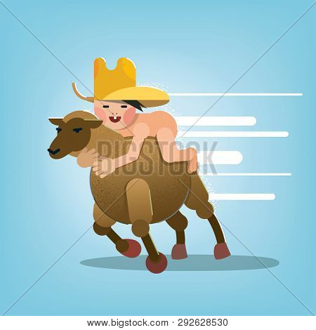 Happy Childhood. The Naked Little Boy Saddled A Sheep. Flat Vector Style
