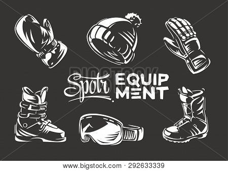 Set Of Sport Winter Clothes And Equipment. Vector Emblem. Gloss Effect