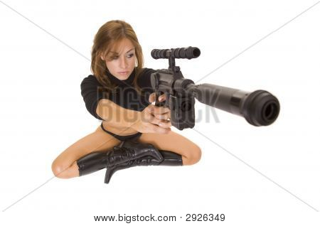 Science Fiction Woman With Laser Gun Isolated On White