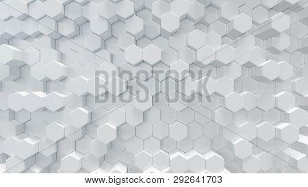 3d Illustration White Geometric Hexagon Abstract Background. Surface Hexagon Pattern, Hexagonal Hone