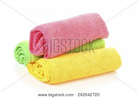 Unused And Colorful Microfiber Cloths Isolated On White