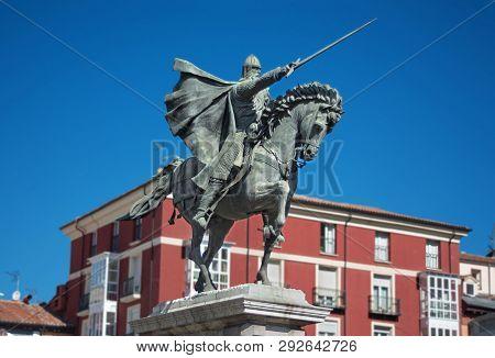 Ancient Statue Of Medeival Spanish Soldier Rodrigo Diaz De Vivar, El Cid In Burgos, Spain.